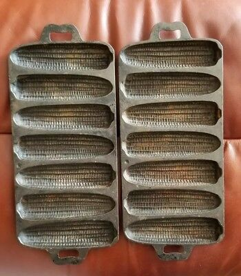 Set 2 Vintage Cast Iron 7 Slot 7B Ear Corn Pone Cornbread Bread Muffin Pan Mold