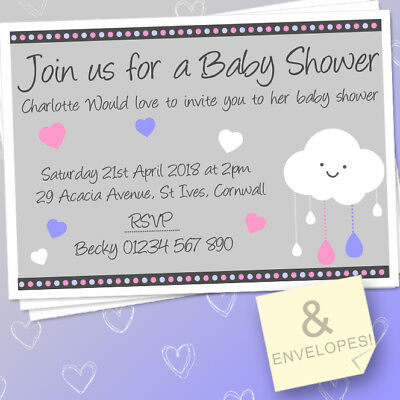 Personalised Showered With Love Finger Print Cloud A4 Print Baby