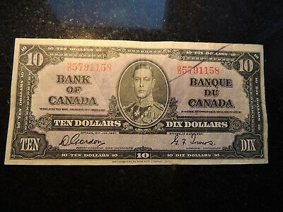 1937 BANK OF CANADA $ 10 TEN DOLLARS GORDON TOWERS B/D 5791158 BC-24b