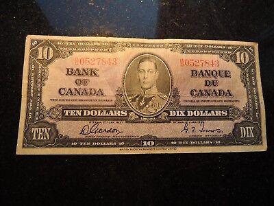 1937 BANK OF CANADA $ 10 TEN DOLLARS GORDON TOWERS B/D 0527843 BC-24b
