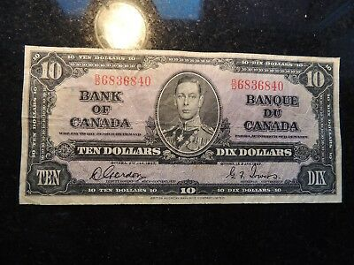 1937 BANK OF CANADA $ 10 TEN DOLLARS GORDON TOWERS B/D 6836840 BC-24b