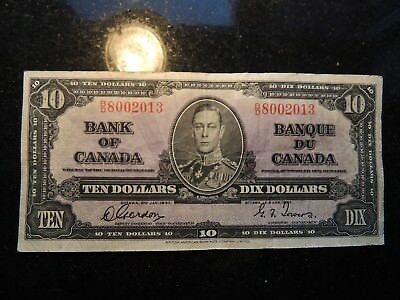 1937 BANK OF CANADA $ 10 TEN DOLLARS GORDON TOWERS B/D 8002013 BC-24b