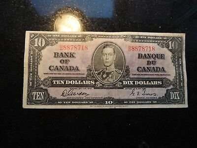 1937 BANK OF CANADA $ 10 TEN DOLLARS GORDON TOWERS B/D 8878718 BC-24b