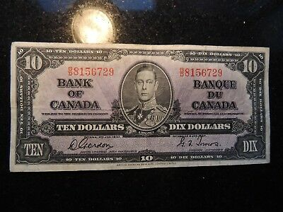 1937 BANK OF CANADA $ 10 TEN DOLLARS GORDON TOWERS B/D 8156729 BC-24b