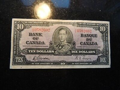 1937 BANK OF CANADA $ 10 TEN DOLLARS GORDON TOWERS C/D 0582602 BC-24b