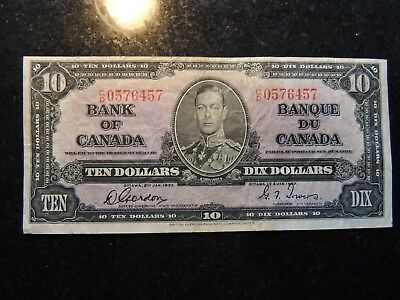 1937 BANK OF CANADA $ 10 TEN DOLLARS GORDON TOWERS C/D 0576457 BC-24b
