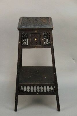 Antique Tall Moorish Stand With Intricate Carving Detail (10975)