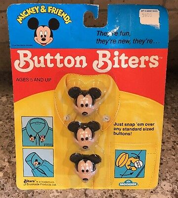 New Sealed Mickey Mouse Button Covers Biters Vintage Disney Collectible