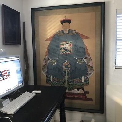 Large and Heavy Antique/Vintage Chinese  Ancestor Portrait Painting
