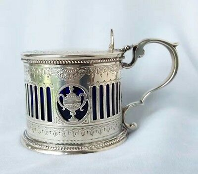 Antique Victorian sterling silver mustard pot hallmarked HH, London