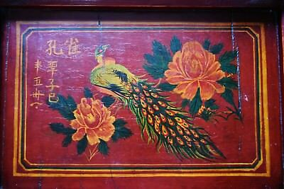 Chinese antique red lacquered wooden service tray painted peacock and calligraph