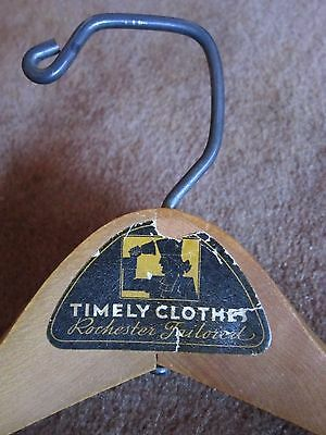 Rochester NY Collectible Timely Clothes Tailored Retail Wood Hanger Vtg Wishbone