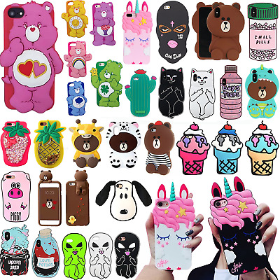 3D Cartoon Animals Silicone Soft Rubber Shockproof Skin Case For iPhone X 6 7 8