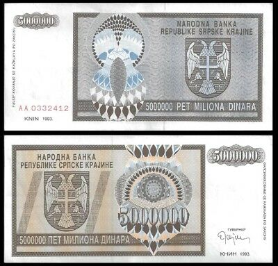 CROATIA (Serbian Knin) 5,000,000 (5 Million) Dinara, 1993, P-R11, aUNC Currency