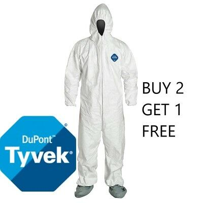 Dupont TY122S White Tyvek Disposable Coverall Bunny Suit Hood & Boots Size XL-2X