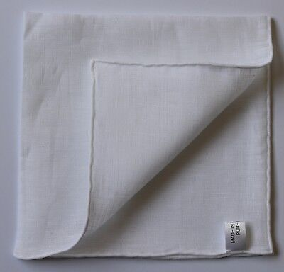 White Pure Linen Hand Rolled Pocket Square Handkerchief. Made in England.