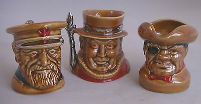 LORD NELSON Pottery CHARACTER TOBY JUGS x 3 - Fisherman, Beefeater & Pirate