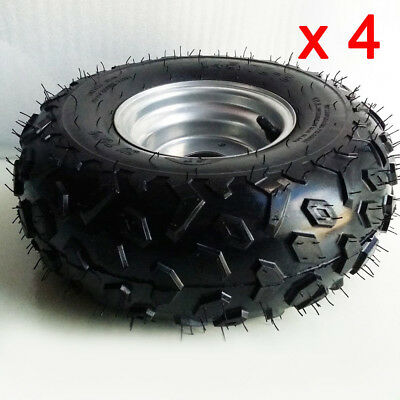 """4 pcs 145/70 - 6"""" Front & Rear 4 PLY Tyres + Rims For ATV Go kart Buggy Quad"""