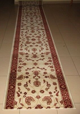 New Extra Long Cream Persian Design Heatset Hallway Floor Runner Rug 80X560Cm