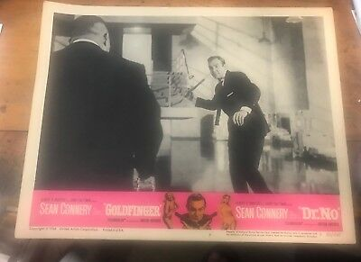 "Goldfinger ""Dr No ""Original Double Feature Lobby Card 1966 Sean Connery & Oddjob"