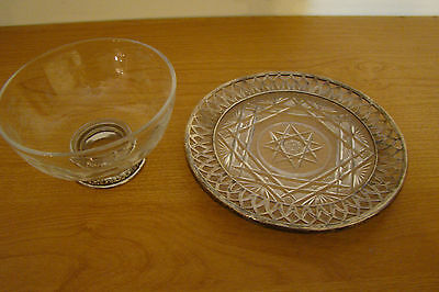 Vintage Frank M. Whiting Sterling Silver bowl and sterling glass plate