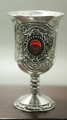 CHINESE OLD MIAO SILVER CARVING red WINEGLASS COLLECTIBLE CUP