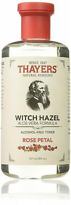 Thayers Alcohol-Free Rose Petal Witch Hazel with Aloe Vera 12 Fluid Ounce New