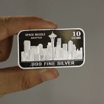 "10 grams .999 Fine Silver Bullion Bar, ""Seattle Space Needle"" design!,  NEW!"