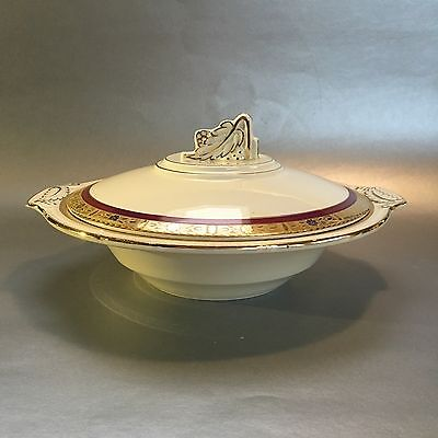 Burleigh Ware Zenith Art Deco English Pottery Antique 9 Inch Covered Casserole
