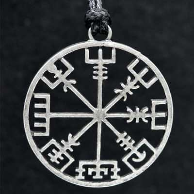 Viking Pirates Compass Pendant Necklace Leather rope Rune Jewelry Vintage