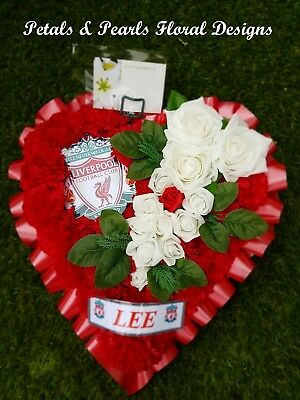 Artificial Flowers Liverpool Football Club Funeral Heart Wreath Grave Tribute