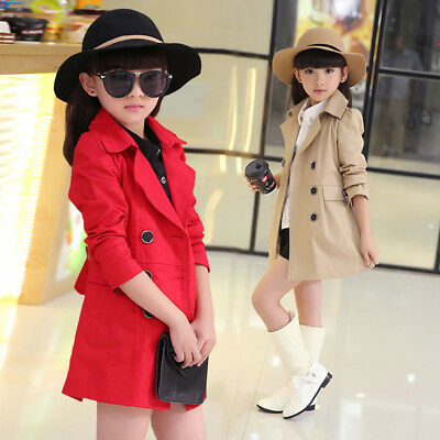 Kids girls Jacket Trench Coat Windbreaker Outerwear Parka Clothes 4-14Year