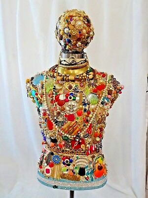 Decorated Female Mannequin on Heavy Duty Metal Stand Costume Jewelry Buttons