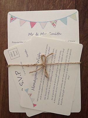 Bunting Vintage PERSONALISED WEDDING DAY/eve INVITATIONS Rsvp  WITH ENVELOPEs