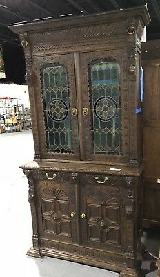 RARE 17th Century LARGE English Oak CABINET with STAINED GLASS Doors Cupboard