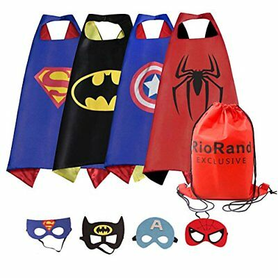 RioRand Dress Up Costumes Cartoon 4 Satin Capes With Felt Masks for Girls