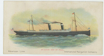 American Line St Louis & St Paul Steamers 1880's Trade Card