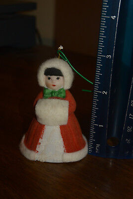Vintage Jasco L'il Lil Chimers Caroler Girl Doll Bell Christmas Tree Ornament