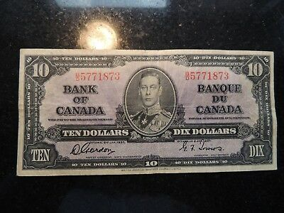 1937 BANK OF CANADA $ 10 TEN DOLLARS GORDON TOWERS B/D 5771873 BC-24b