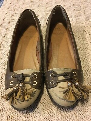 Gorgeous River Island Brown Suede Tassel Gold Loafers Shoes UK 4 EU 37