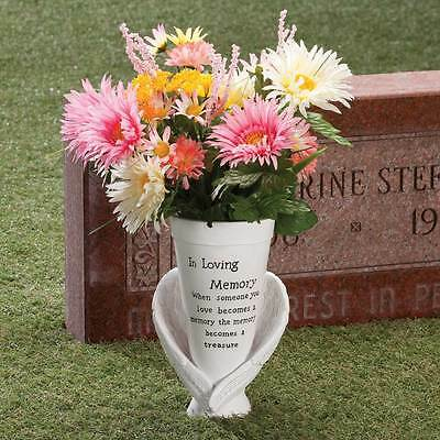Vase Memorial Angel Wings Prayer Flower Stake Outdoor