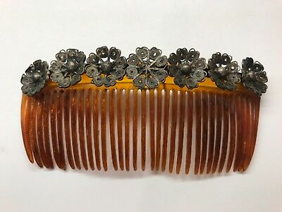 Antique Sterling And Faux Tortoise Shell Hair Comb