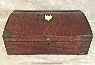 Ant Campaign Style Jewelry Box Mahogany w/ Brass Corner Fittings Fitted Mirror