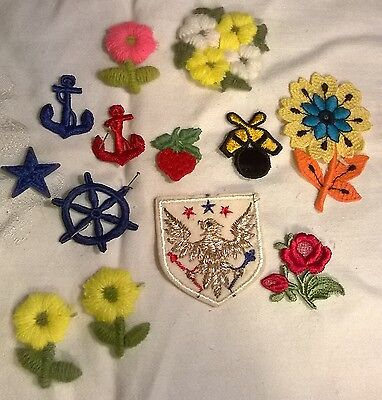 "VTG 60's LOT OF 13 APPLIQUES.OLD STORE STOCK.SEW ON.NEW.SIZED FROM 1""-3"".NICE!"