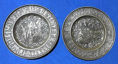 Antique/Vintage Pair of Repousse Pewter Plates / Chargers 11 3/4 ""