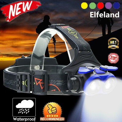50000LM 2xT6 LED Zoomable Headlamp Rechargeable Headlight 18650 Head Lamp USA