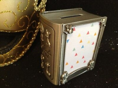 Baby's First Money Box - Pewter Finish - Noah's Ark Book (with photo insert)
