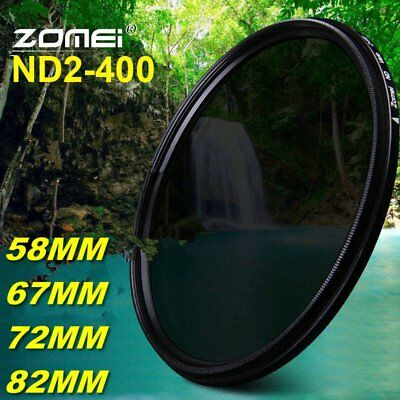 ZOMEI 58MM 67MM 72MM 82MM Adjustable Neutral Density ND2-400 Camera filters BT