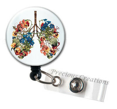 Student Badge Holder -A181 Floral Lungs Retractable Badge Holder Nursing Badge Reel Medical Staff Gift Watercolor Lungs Badge Reel