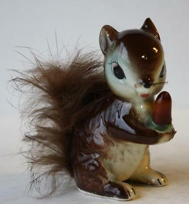 Squirrel Figure w-Fur Tail-Whiskers Ceramic-Porcelain Hand Painted Made in Japan